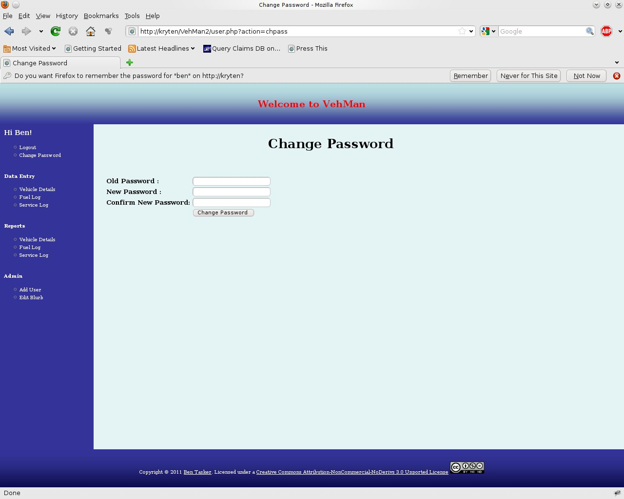The Change Password Screen
