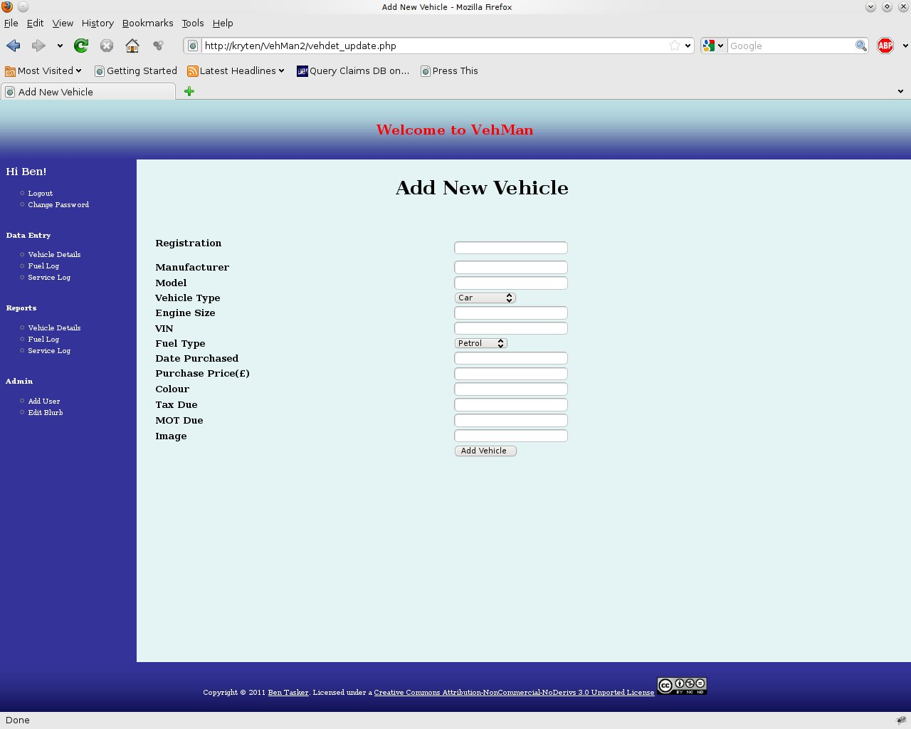 The Vehicle Data Input Form